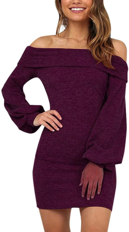olinase Women Off Shoulder Flare Long Sleeve Knit Sweater Dress Bodycon Elegant