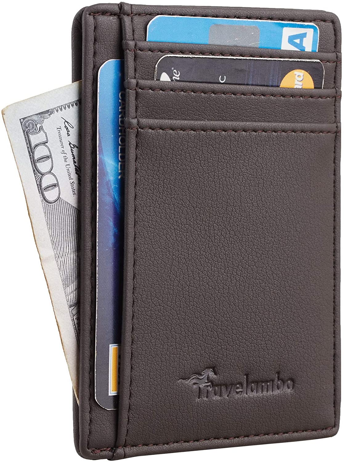 Travelambo Front Pocket Minimalist Leather Slim Wallet RFID Blocking Medium Size(VP Steel Grey)