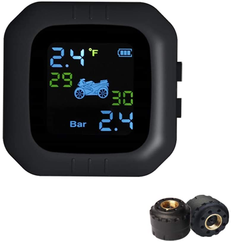 Carrfan Waterproof Cordless TPMS Motorcycle Tire Pressure Monitoring System with 2 External Sensor