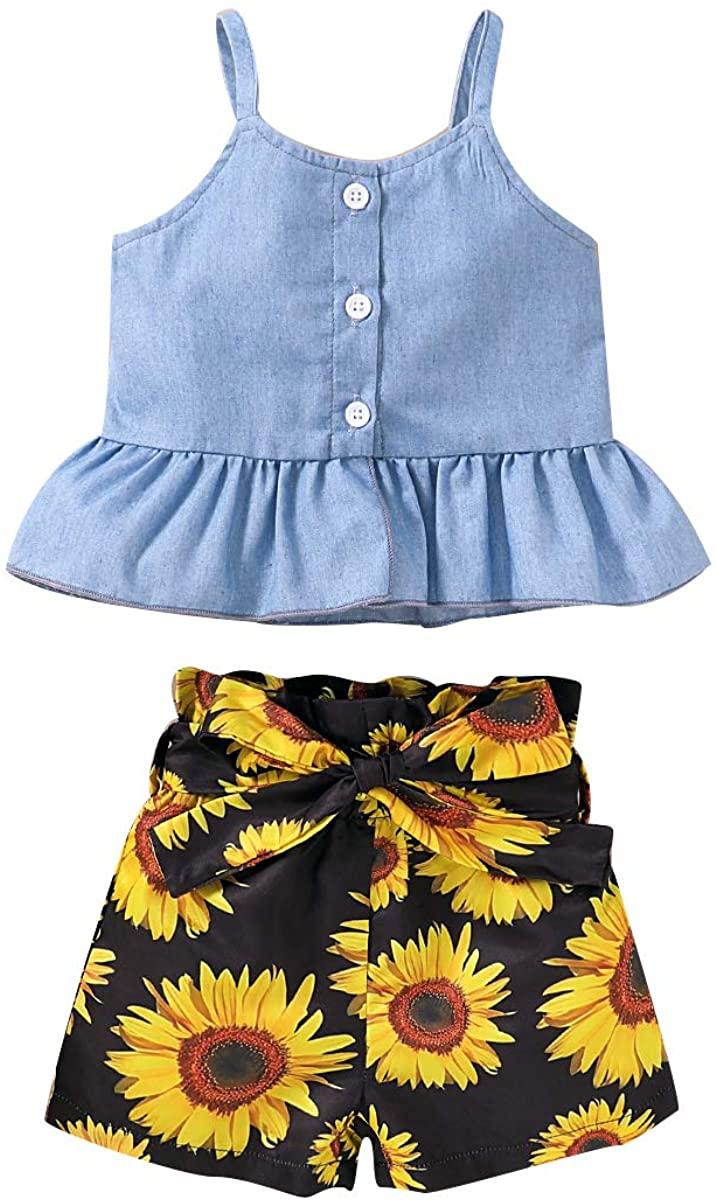 Baby Girls Summer Shorts Set Ruffle Button Suspender Denim Sleeveless Vest Floral Bowknot Shorts Clothes