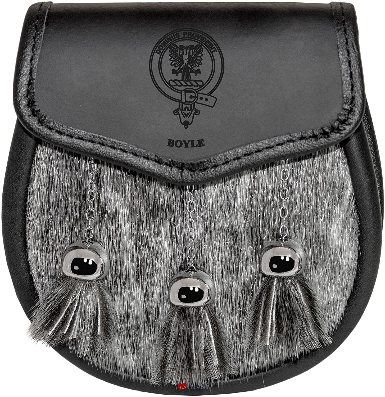 Boyle Semi Dress Sporran Fur Plain Leather Flap Scottish Clan Crest
