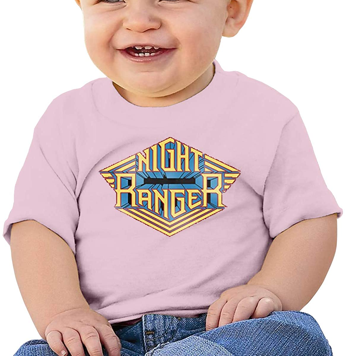 6-24 Months Boy and Girl Baby Short Sleeve T-Shirt Night Ranger Original Minimalist Style Pink