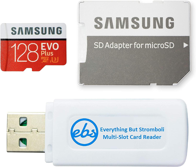Samsung Evo Plus 128GB MicroSD Memory Card Class 10 Works with DJI Mavic Mini Drone Flycam UHS-I Speed Class 3, 4K, SDXC (MB-MC128H) Bundle with (1) Everything But Stromboli Micro & SD Card Reader
