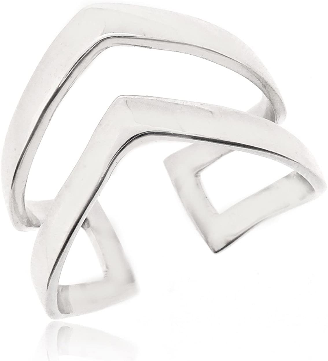 SOVATS Double Chevron Ring for Women 925 Sterling Silver Rhodium Plated - Simple, Stylish &Trendy Nickel Free Ring
