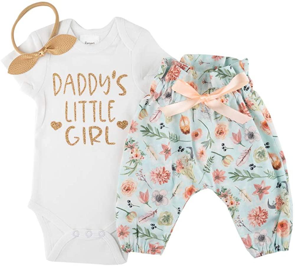 Romari for Kids Daddy's Little Girl Baby Bodysuit + Boho Pants + Baby Headband Bow Baby Girls Pants Set