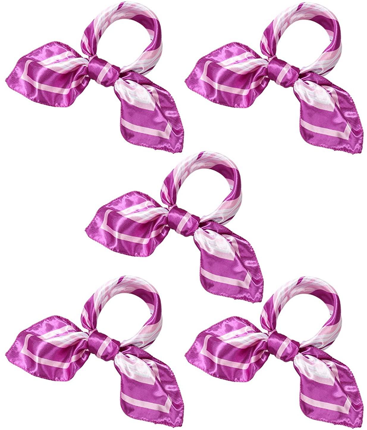 uxcell K28 Ladies Infinity Square Shape Prints Wrap Kerchief Purple Pink