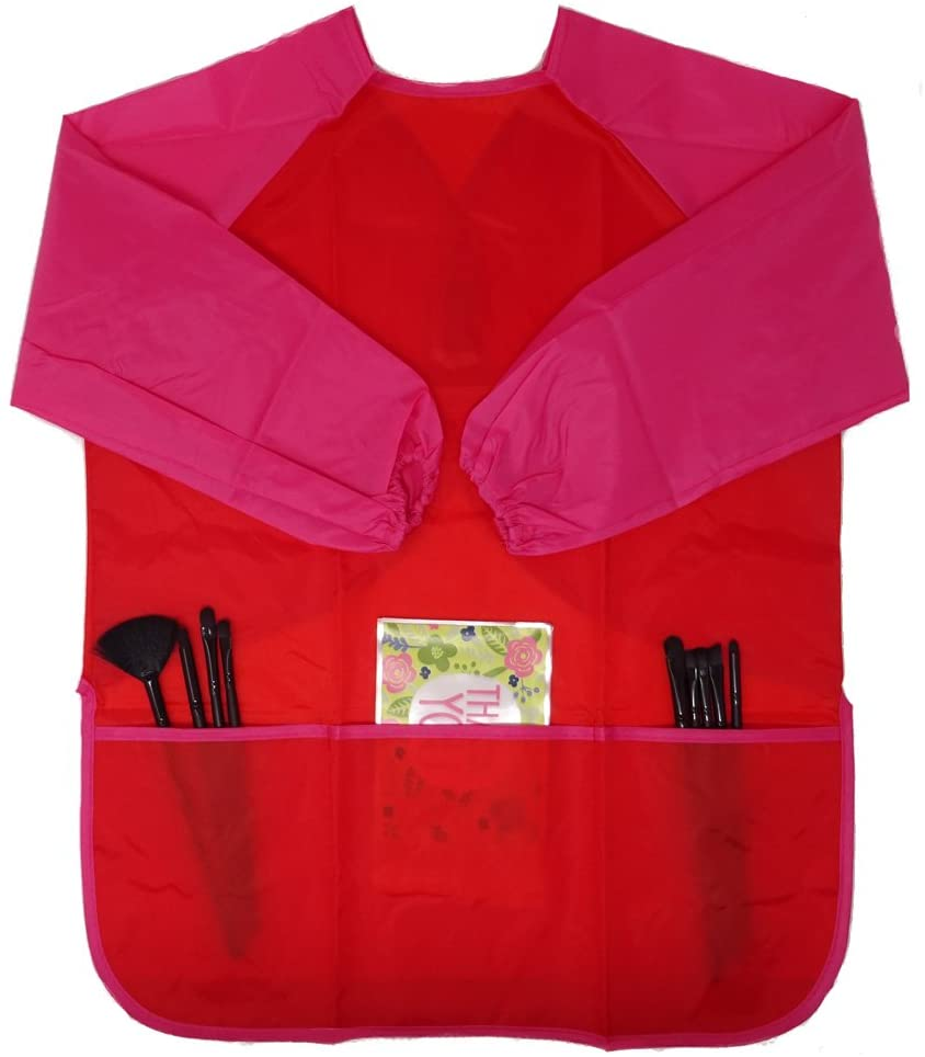 Honbay Kids Waterproof Long-Sleeved Smock Apron Bib for Eating Painting Kitchen Classroom, Community Event, Crafts & Art Painting Activity 5-8Year (Red)