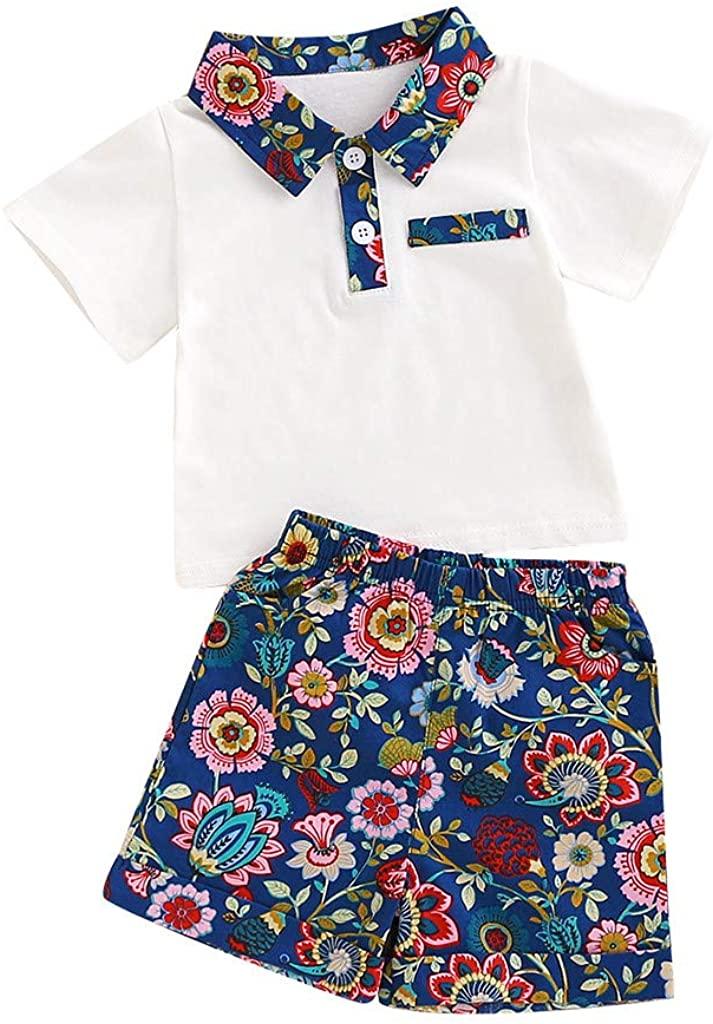 Baby Kids Boys Clothes Set,Infants Gentleman Sunflower Print T-Shirt Tops Short Pants Outfits Set Summer