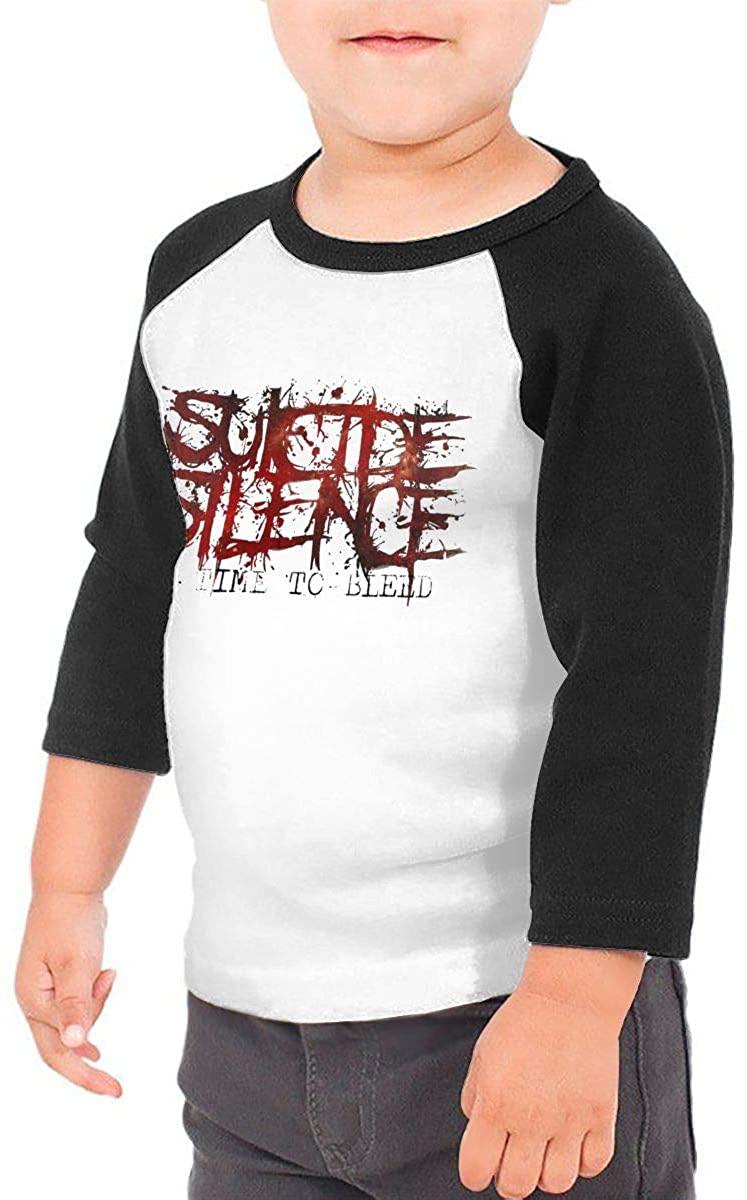 YourYarm Suicide Silence Kid's 3/4 Sleeve Raglan Baseball T-Shirt for Girls & Boys Black