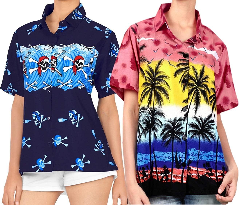 LA LEELA Women's Hawaiian Shirt Dress Casual Button Down Shirts Work from Home Clothes Women Beach Shirt Blouse Shirt Combo Pack of 2 Size XXL