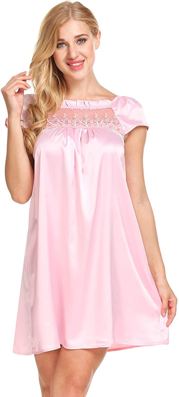 Ekouaer Women Sleepshirt Short Sleeve Nightgown Lace-Trim Soft Sleepwear Slip Dress Pink