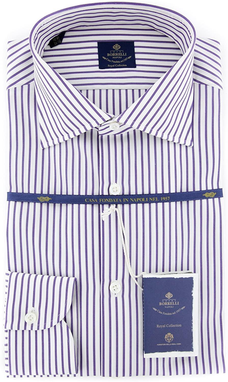 New Luigi Borrelli Purple Striped Extra Slim Shirt