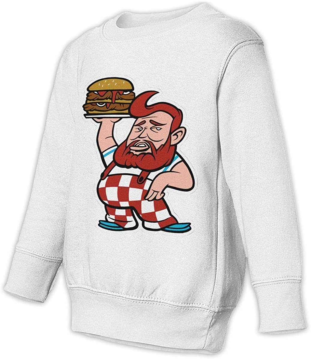 Vintage Action Bronson Burger Unisex Sweatshirt Youth Boy and Girls Pullover Sweatshirt White