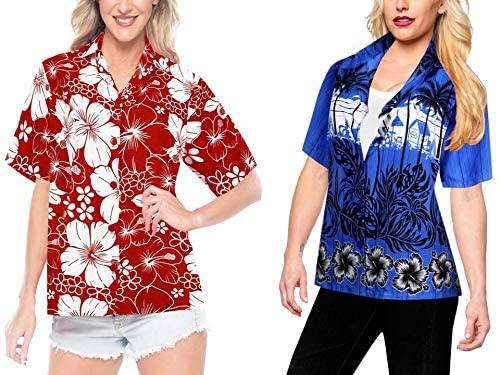 LA LEELA Women's Beach Hawaiian Shirt Dress Shirts Short Sleeve Shirts Work from Home Clothes Women Beach Shirt Blouse Shirt Combo Pack of 2 Size X - Large