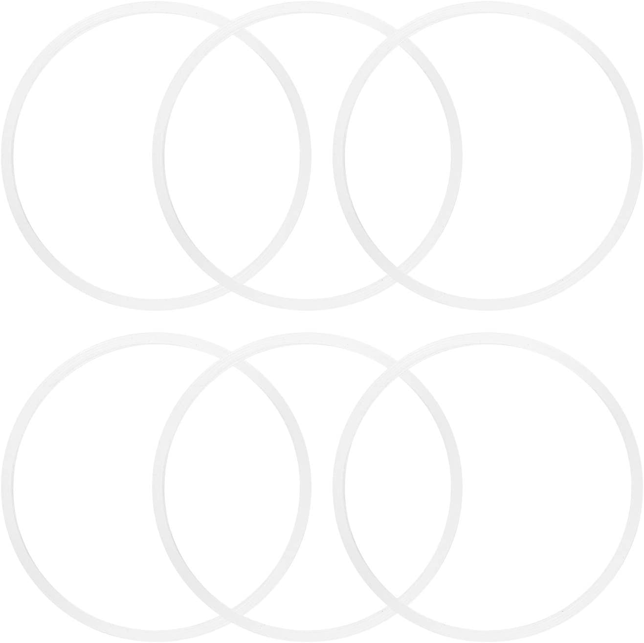 6 Pieces 10cm White Rubber Sealing Gaskets O-Ring Replacement Part Compatible with Nutri Ninja Juicer Blender Replacement Seals