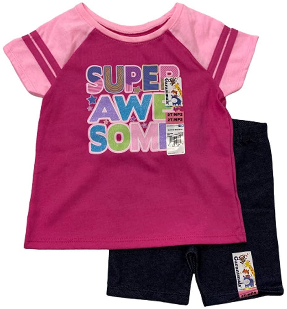 Girls Toddler 2 Piece Set T-Shirt Tee & Bike Shorts Awesome Pink ~ 2T