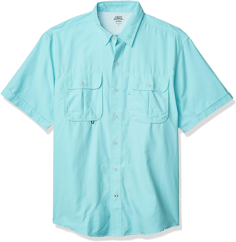 IZOD Men's Short Sleeve Beach Button Down Solid Shirt