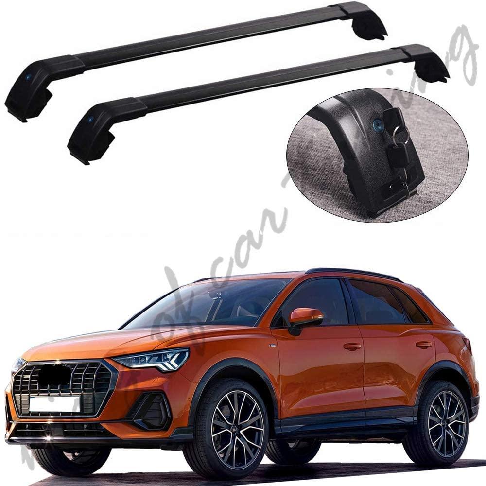 king of car tuning Black Crossbars Cross Bars Roof Rail Racks Fits for Audi All New Q3 2019