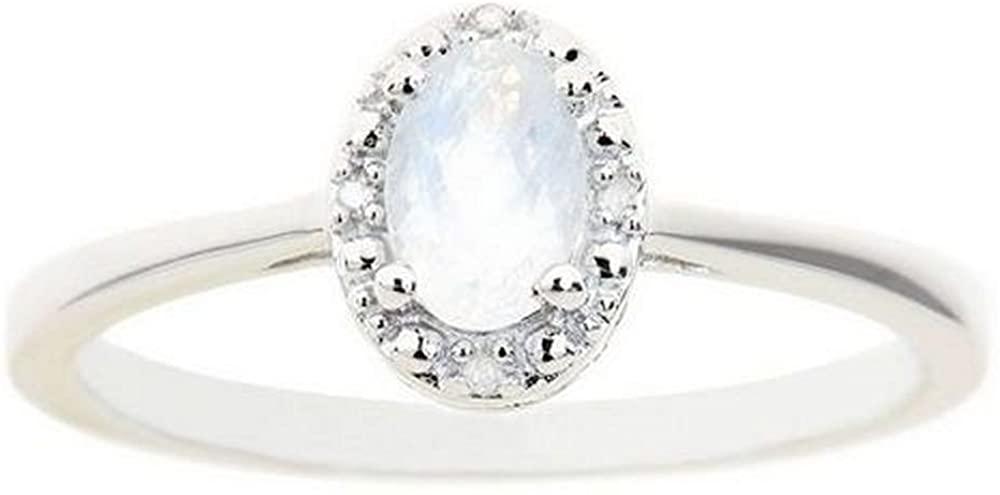 .55 Carat Oval Shape Moonstone & Diamond Halo Engagement Ring 6mm x 4mm