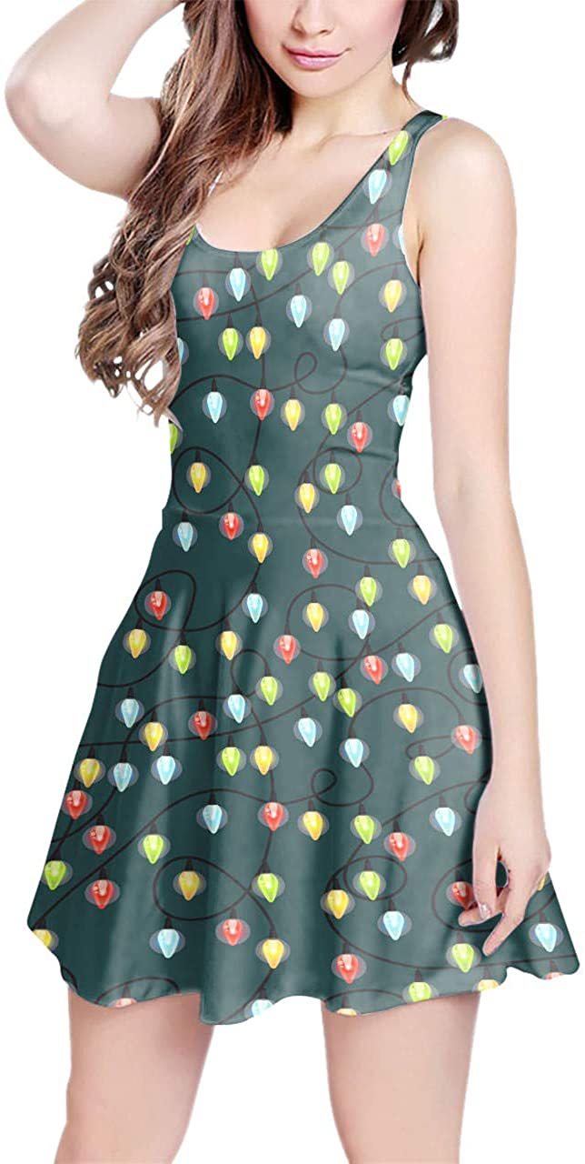 Rainbow Rules Sleeveless Flared Skater Dress - Christmas Fairy Lights