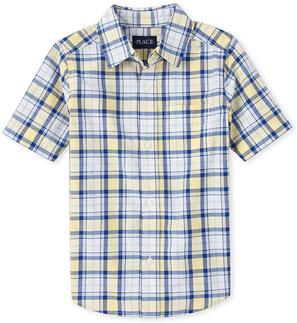 The Children's Place Boys' Short Sleeve Printed Oxford