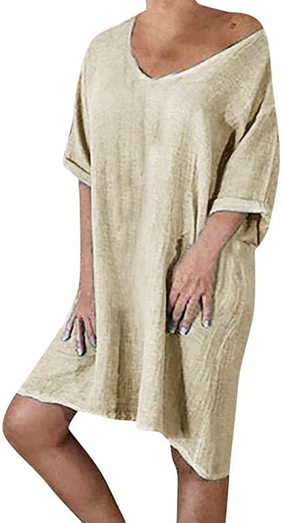 Women Cotton and Linen Summer Style Feminino Vestido T-Shirt Cotton Casual Plus Size Ladies Dress