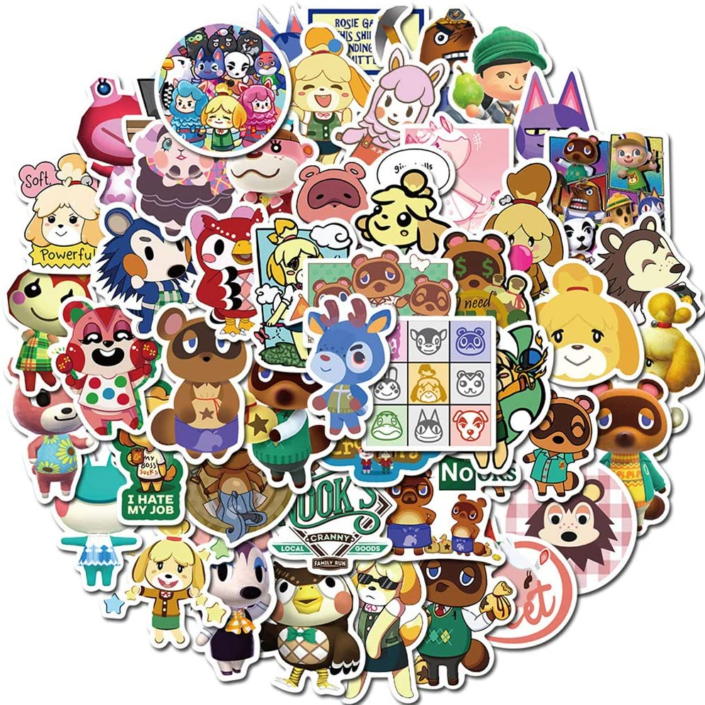 Animal Crossing: New Horizons Cute Stickers for Laptop 50pcs Kids Teens Game Water Bottle Computer Hydro Flasks Luggage Phone Bike Decals