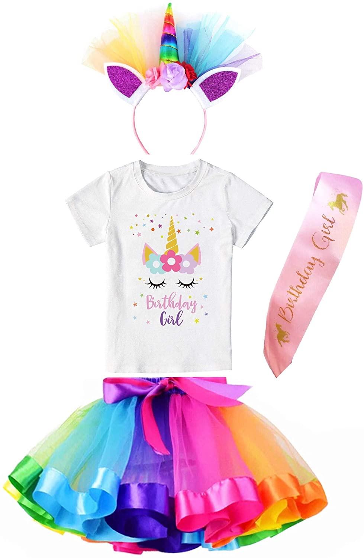 Girls Costume Rainbow Tutu Skirt with Unicorn Star Birthday Tshirt, Headband & Satin Sash
