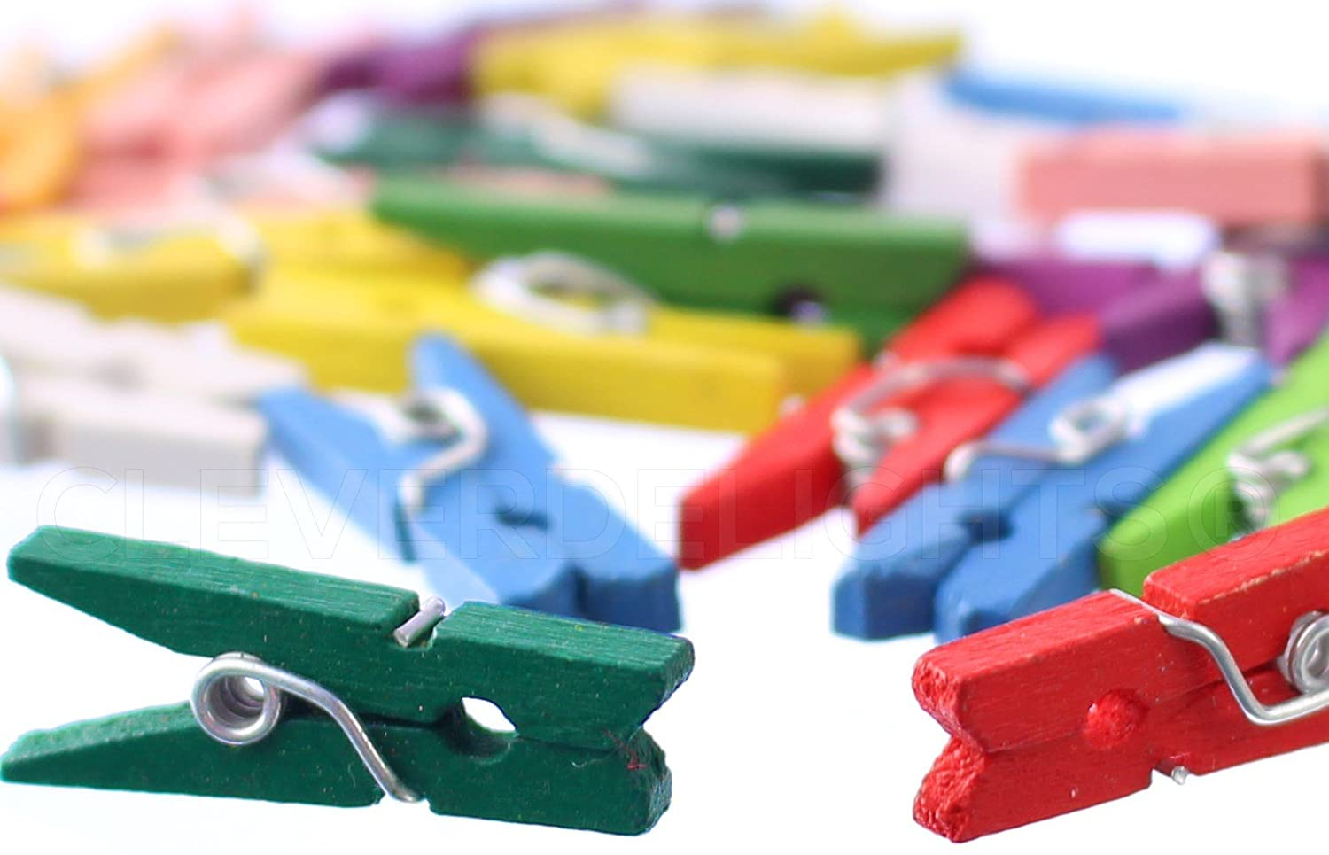 500 Pack - CleverDelights Mini Clothespins - Mixed Colors - 1