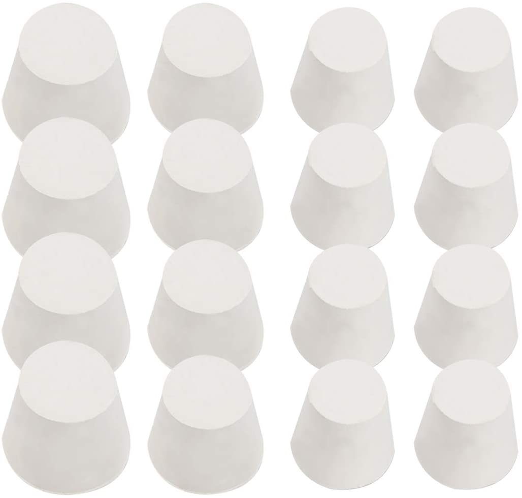 Exceart 16PCS White Solid Rubber Stoppers Lab Plug for Lab Tube Stopper