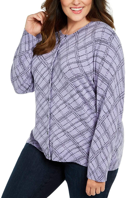 K Scott Button-Front Print Cardigan Plus Size 2X Soft Lilac Heather