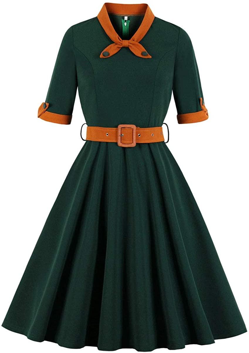 Wellwits Womens 1/2 Half Sleeves Sailor Tie Neck 1940s Retro Vintage Dress