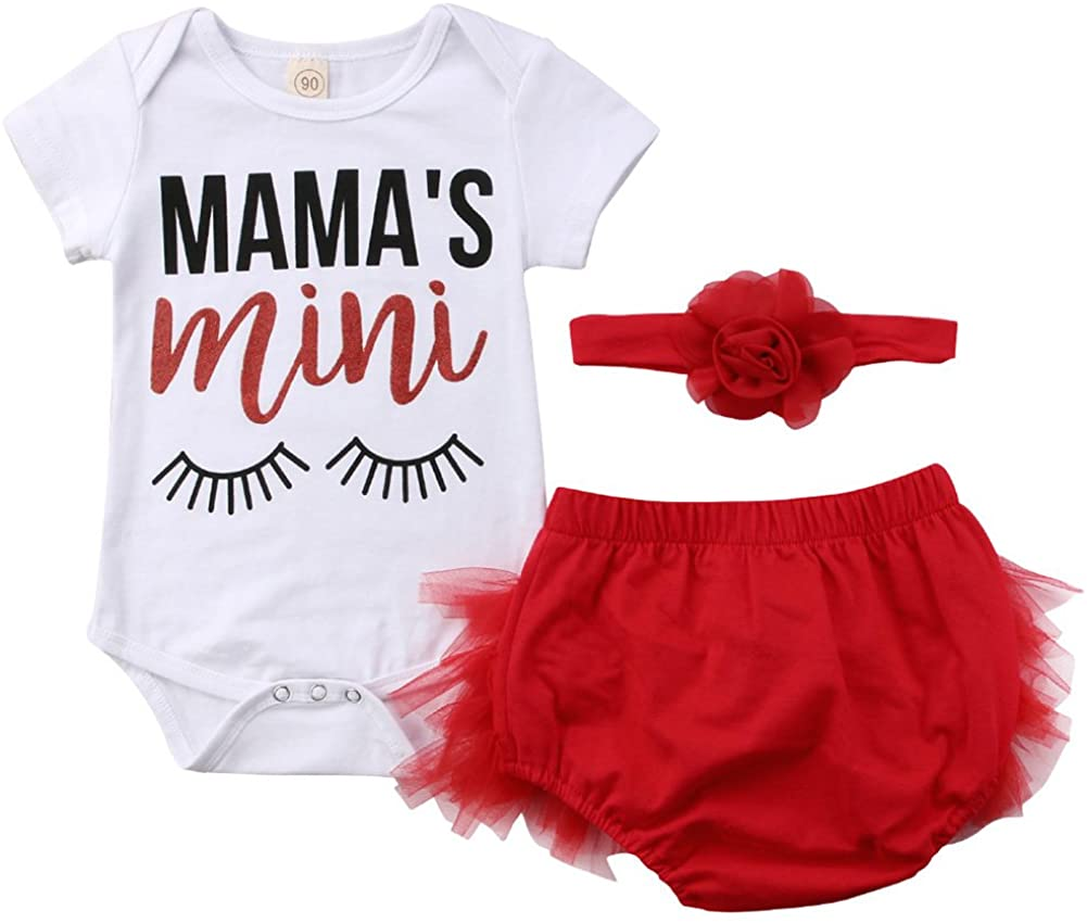 Emmababy Newborn Kids Baby Girl Romper Mama's Mini Bodysuit + Lace Tulle Shorts Pants Headband Outfit 0-24M