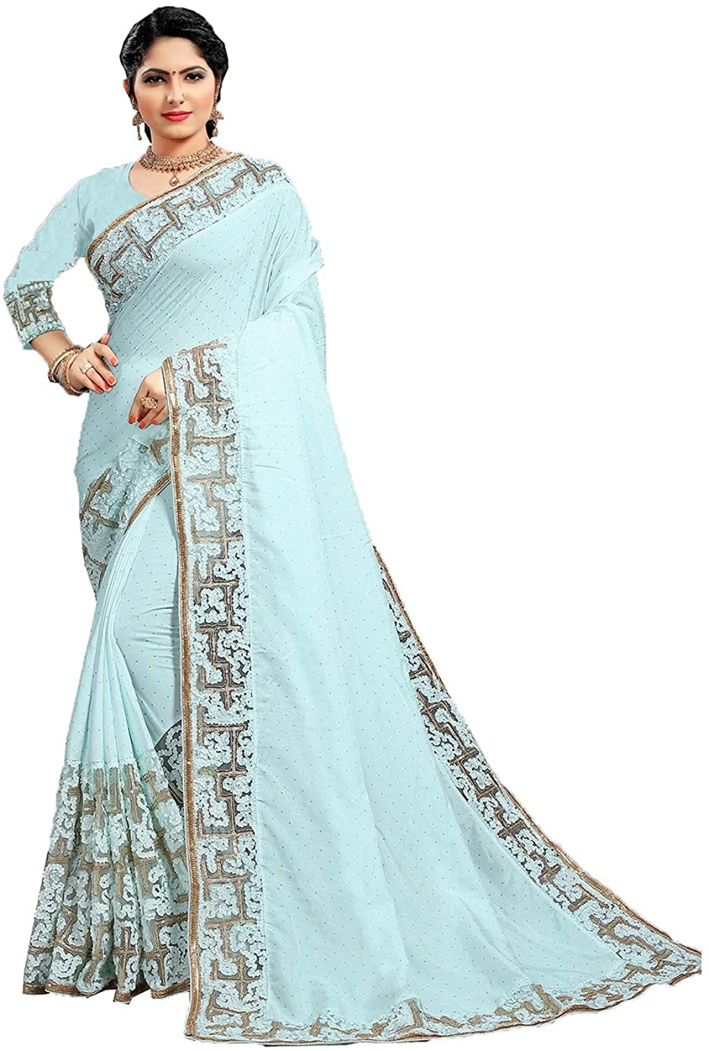 Indian Saree for Women Ethnic Sari Blue Sari with Unstitched Blouse. ICW2843-4
