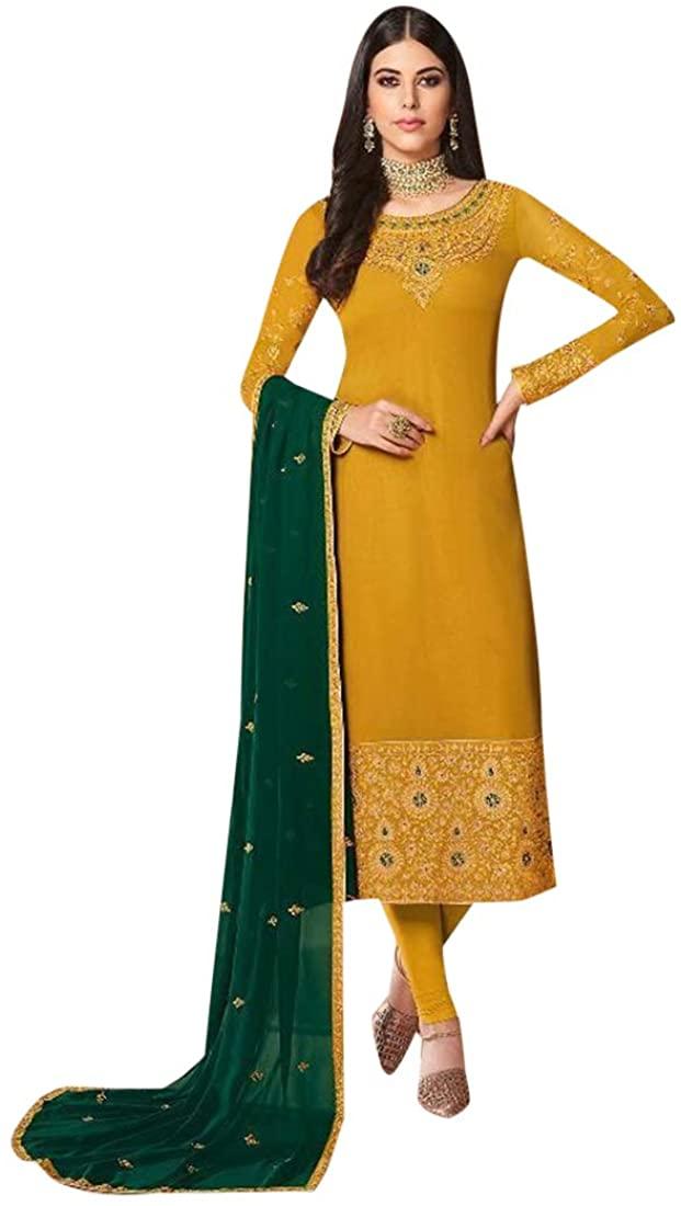 SHRI BALAJI SILK & COTTON SAREE EMPORIUM Yellow Punjabi Churidar Georgette Muslim Salwar Kameez Ethnic Indian Party Suit 9752