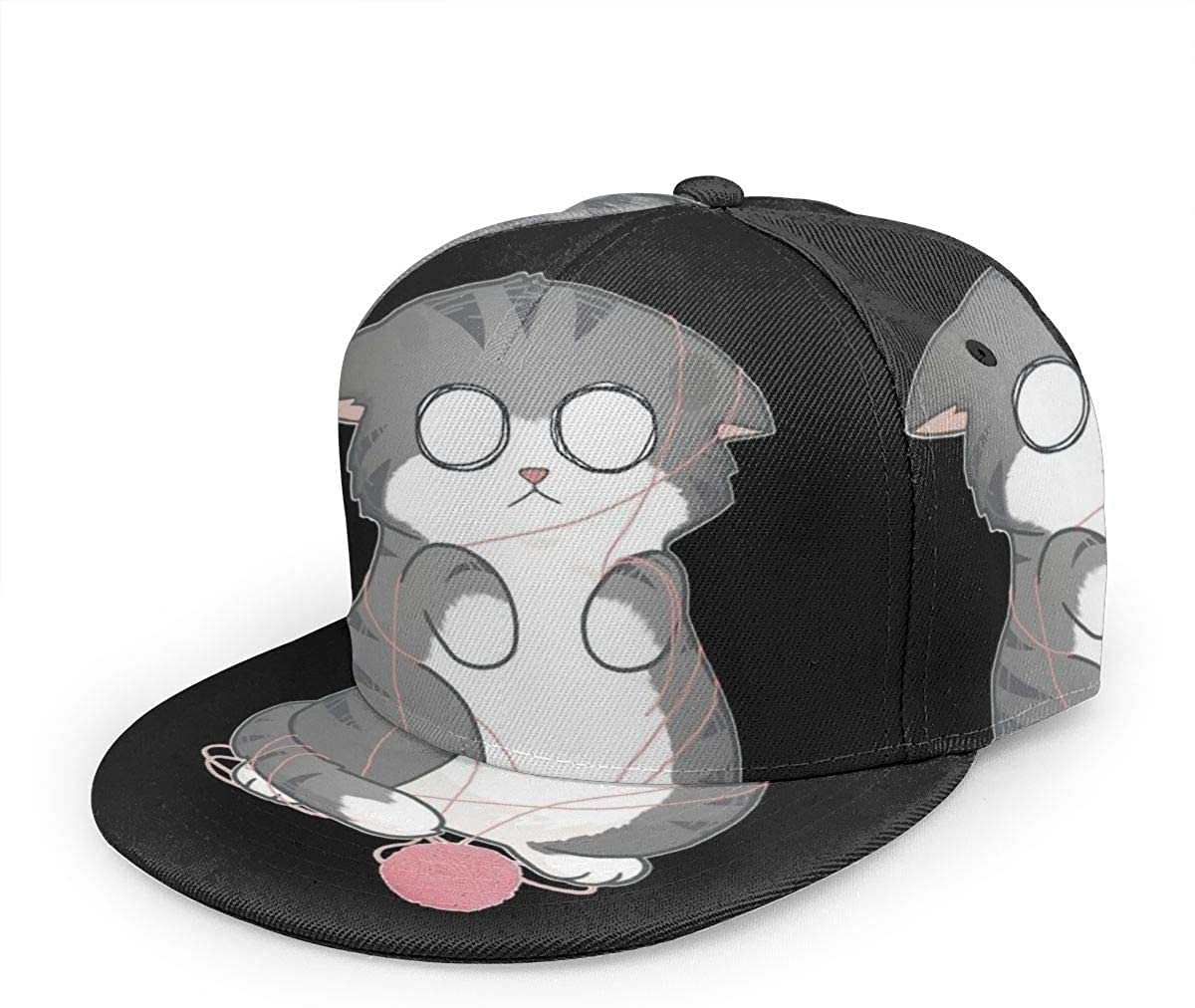 1003 Confused Kitty -Unisex Baseball Cap Printed Fashion Sport Pop Baseball Cap Black