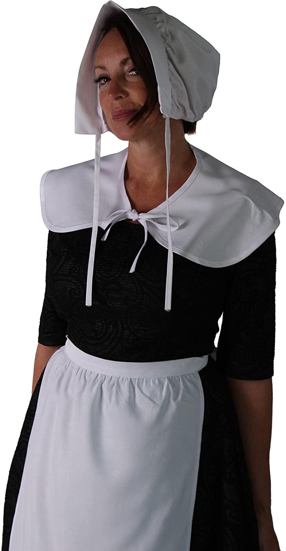 Girls / Womens 3-Piece Pilgrim Costume Set (Womens, White -Womens)