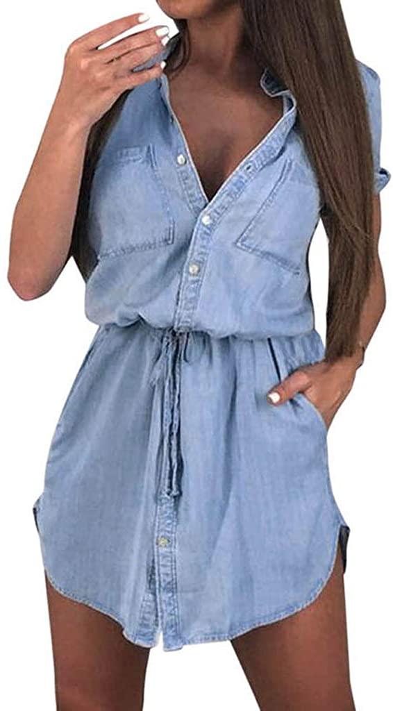 Adeliber Women's Dress Fashion Short-Sleeved Shirt Dress Summer Casual Button Mini Dress