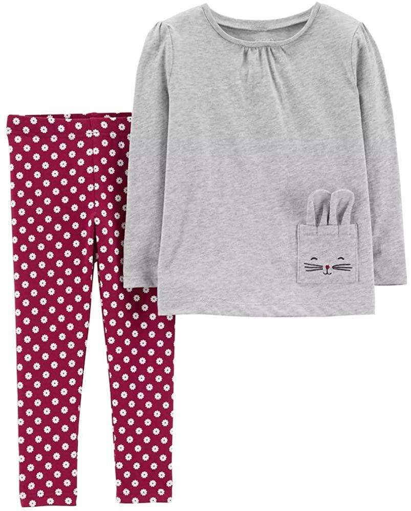 Carter's 2-Piece Jersey Top & Polka Dot Legging Set, 5T, Heather/Burgundy