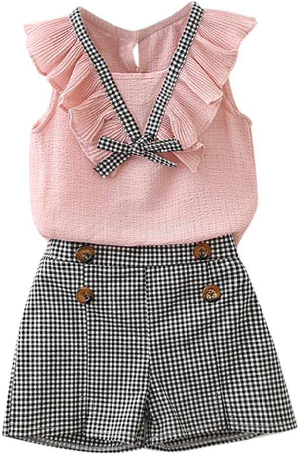 AutumnFall 2020 Toddler Kids Baby Girls Outfits Clothes Bowknot Vest Tops+Plaid Shorts Pants Set (Age:2-3 Years, Pink)