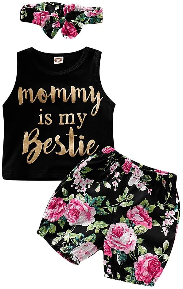 Girls Outfits&Set, Toddler Baby Girl Letter Vest Tops+Floral Print Shorts+Headbands Set Outfit, Clothing for Baby Kids