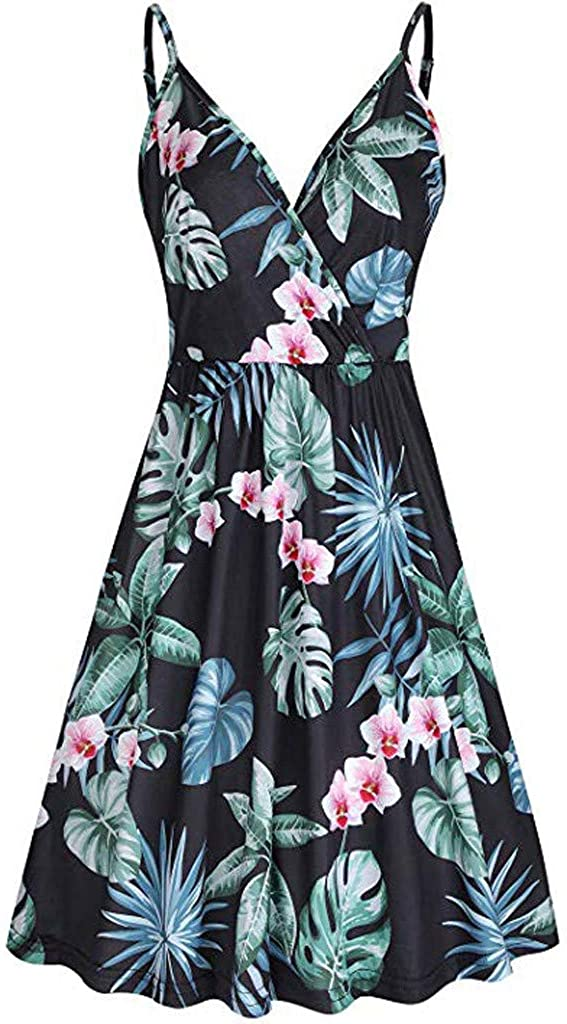 Kiasebu Women's V-Neck Floral Solid Spaghetti Strap Summer Casual Swing Dress with Pockets Evening Party Dresses