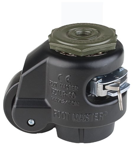 FOOTMASTER GDR-60S-BLK Nylon Wheel and NBR Pad Ratcheting Leveling Caster, 550 lbs, Stem Mounted with 0.472