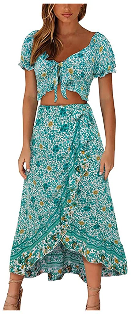 Mikey Store Women Fashion Bohe Dot Print Camisole V-Neck Button Ruffled Sundress Dress