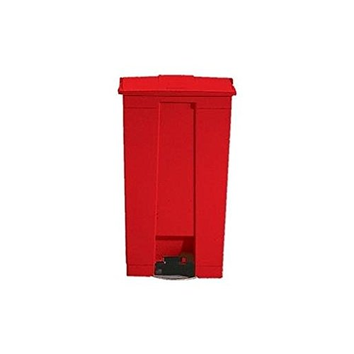 RUBBERMAID COMMERCIAL PROD., Indoor Utility Step-On Waste Container, Rectangular, Plastic, 23gal, Red