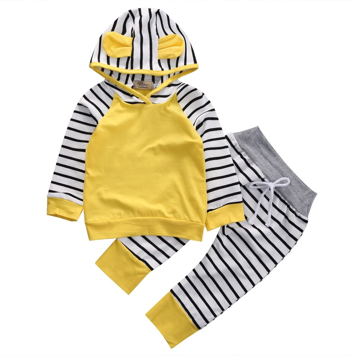 NEEXIJI 2Pcs Baby Boy Girl Hooded Sweatshirt Striped Outfits Long Sleeve Toddler Kids Fall Clothes