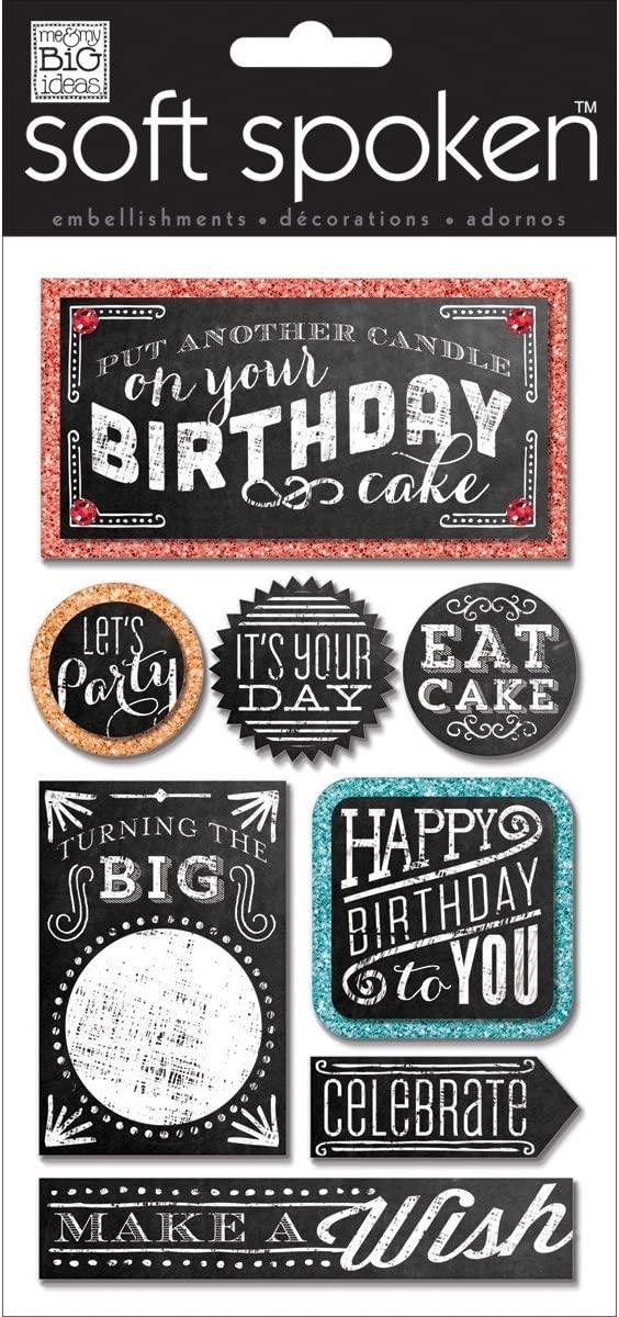 Me & My Big Ideas Soft Spoken Themed Embellishments, Chalk Happy Birthday
