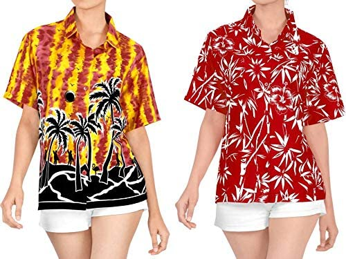 LA LEELA Women's Plus Size Funky Hawaiian Shirt Short Sleeve Cover Up Work from Home Clothes Women Beach Shirt Blouse Shirt Combo Pack of 2 Size Small