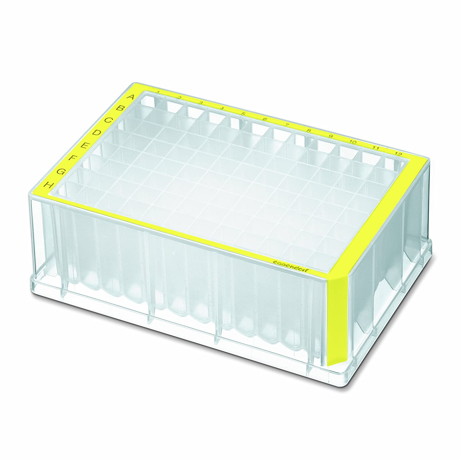 Eppendorf 951033626 Standard Deepwell Plate with 96 Wells, 2000 microliter Volume, Yellow Border (Pack of 80)