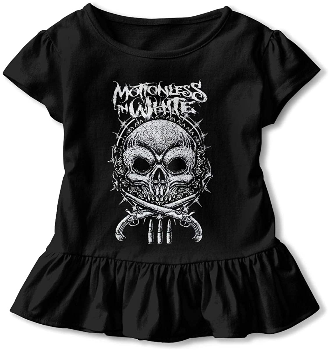 Motionless in White Baby Girls Basic Shirts Toddler Short Sleeve T-Shirts Essential Ruffle T-Shirt
